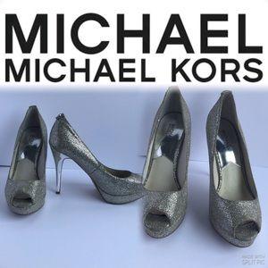 Michael Kors Silver Open Toe stiletto Heel Shoes